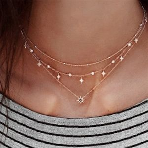 Jewelry - Triple-Layer Gold Crystal Star Necklace